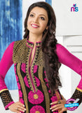 NS10822 Magenta and Black Georgette Straight Suit