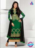 NS10824 Black and Green Geoegette Straight Suit