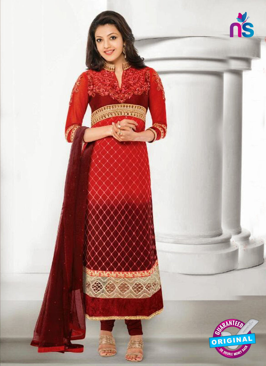 NS10825 Red Georgette Straight Suit