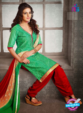 NS12237 Light Green and Red Chudidar Suit