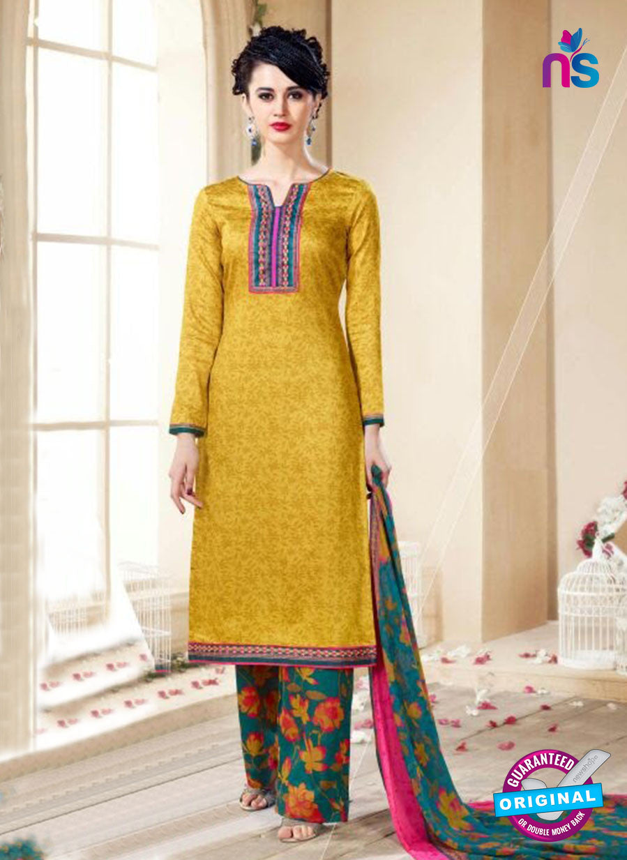 SC 14110 Yellow Cotton Satin Plazo Suit
