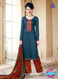 SC 14106 Blue Cotton Satin Plazo Suit