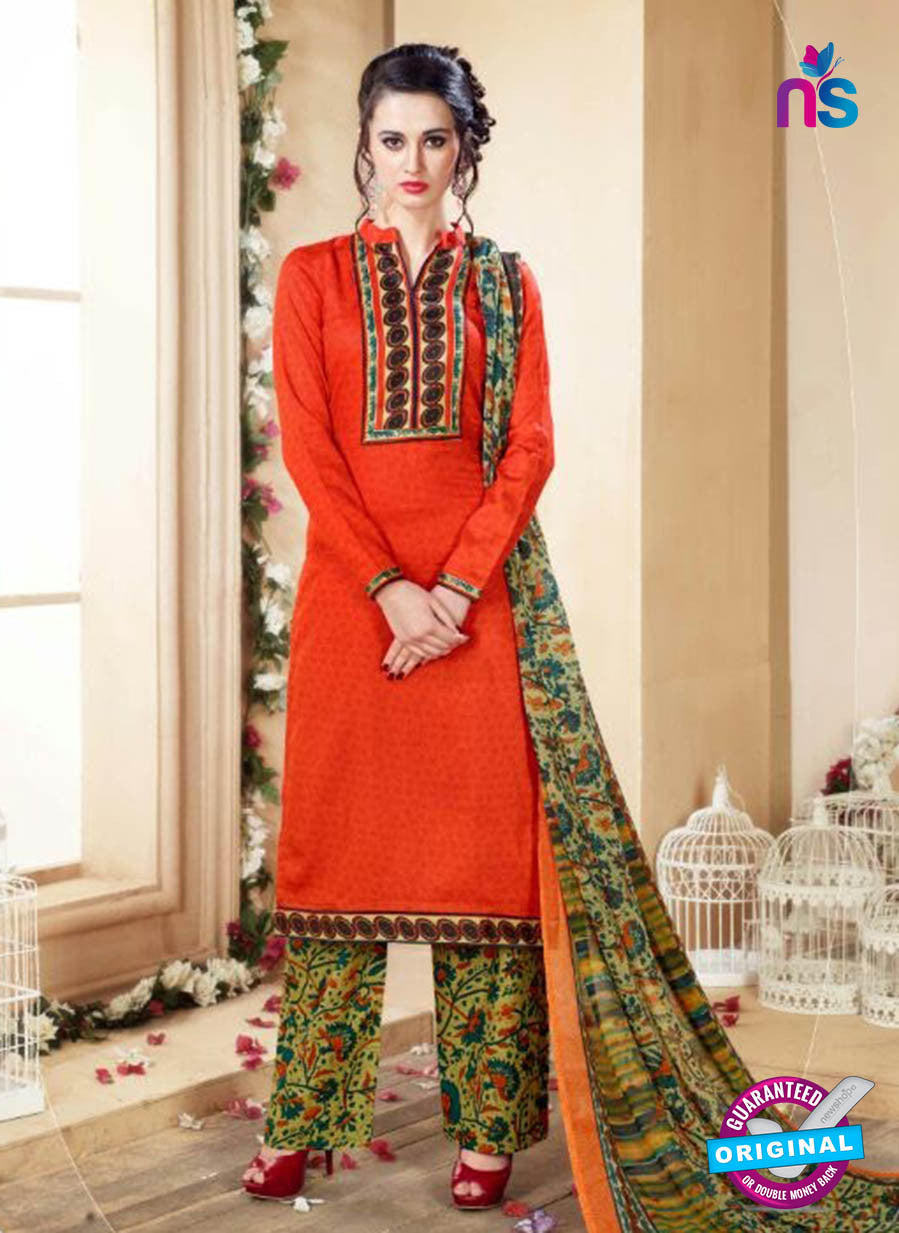 SC 14105 Orange Cotton Satin Plazo Suit