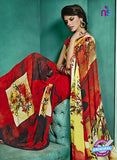 NS10235 Red and Yellow Georgette Saree
