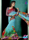 NS10236 Red and Sky Blue Georgette Saree