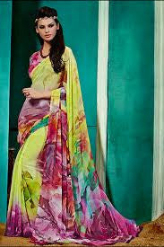 NS10237 Multicolor and Yellow Georgette Saree