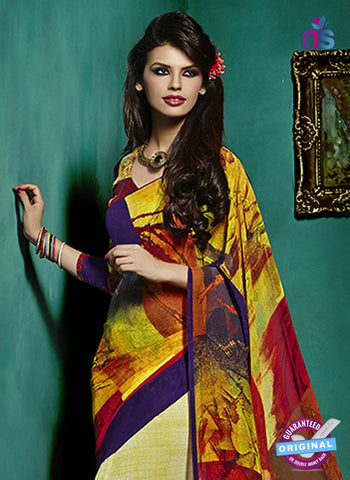 NS10238 Yellow and Red Georgette Saree