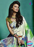 NS10239 Beige and Multicolor Georgette Saree
