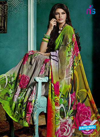 NS10240 Green and Multicolor Georgette Saree