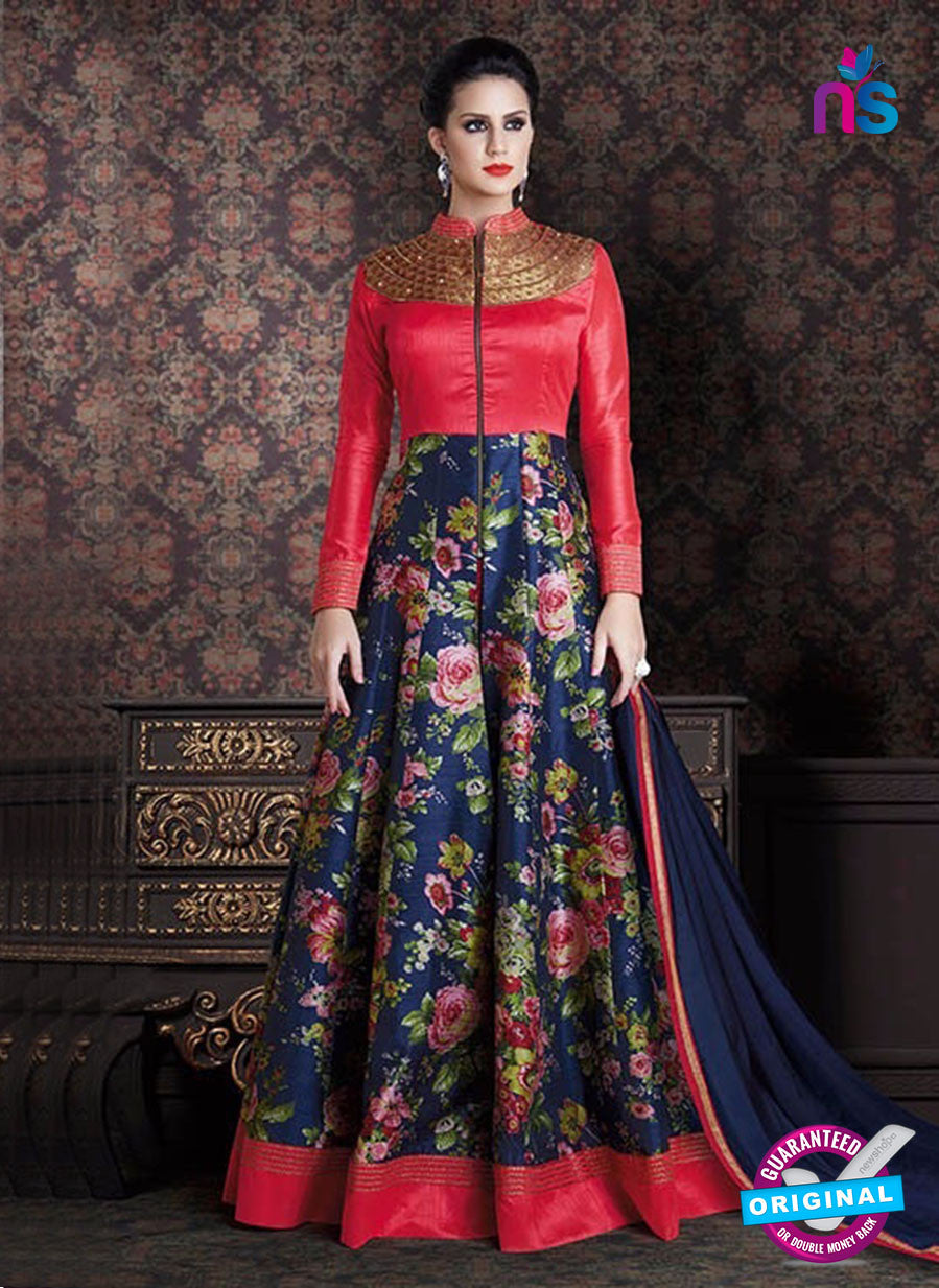 AZ 3379 Red and Blue Banaraski Silk Fancy Function Wear Designer Anarkali Suit