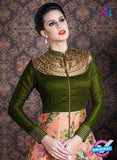 AZ 3380 Green and Peach Banaraski Silk Fancy Function Wear Designer Anarkali Suit