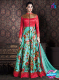 AZ 3381 Red and Sea Green Banaraski Silk Fancy Function Wear Designer Anarkali Suit
