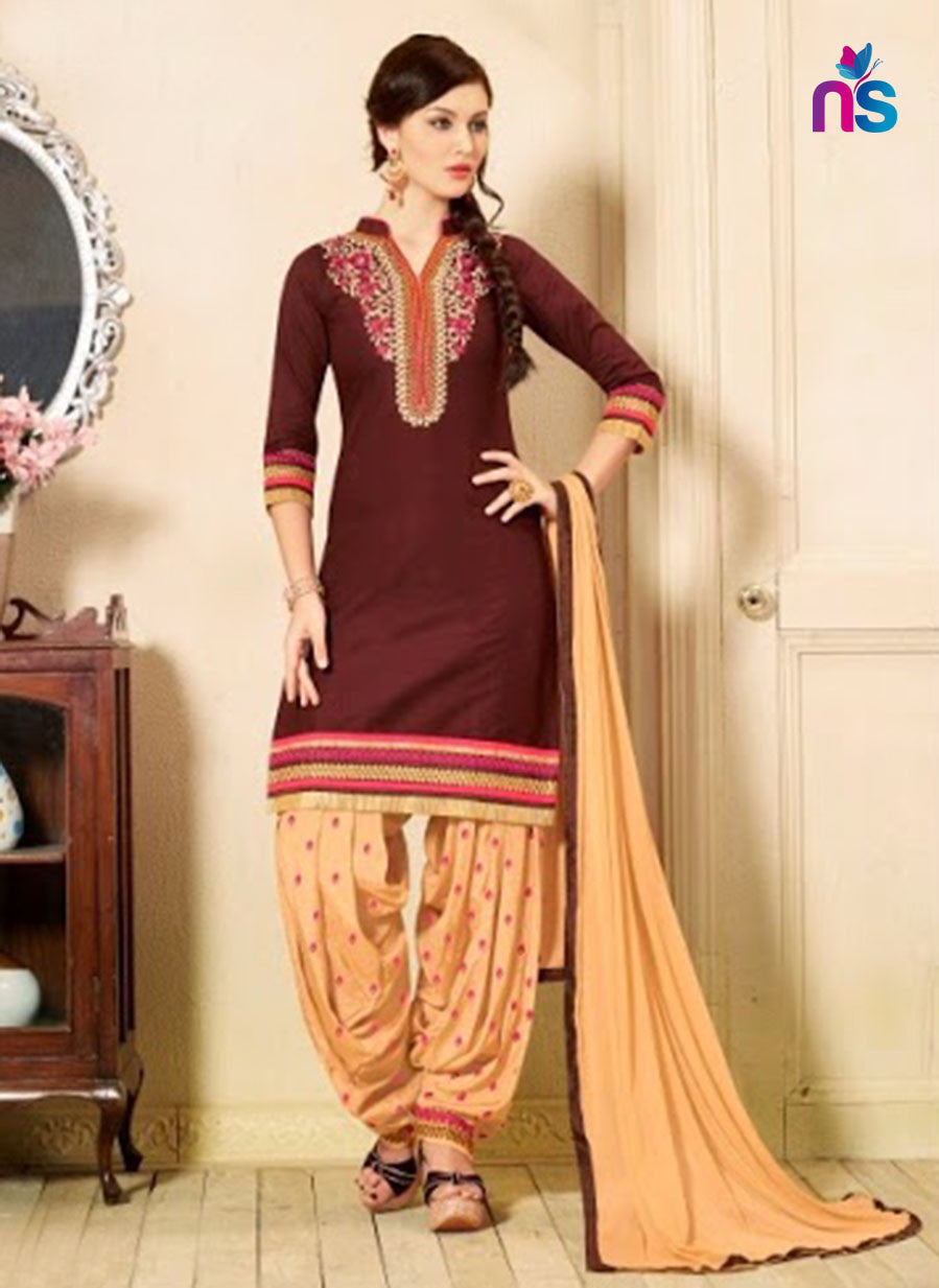 NS11322 Brown and SandyBrown Party Wear Cotton Patiyala Suit