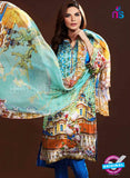 NS10634 Multicolor and Blue Party Wear Printed Satin Pakistani Suit