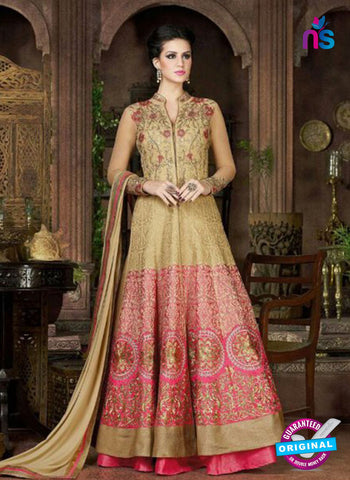 AZ 1001 Beige and Pink Silk Anarkali Suit