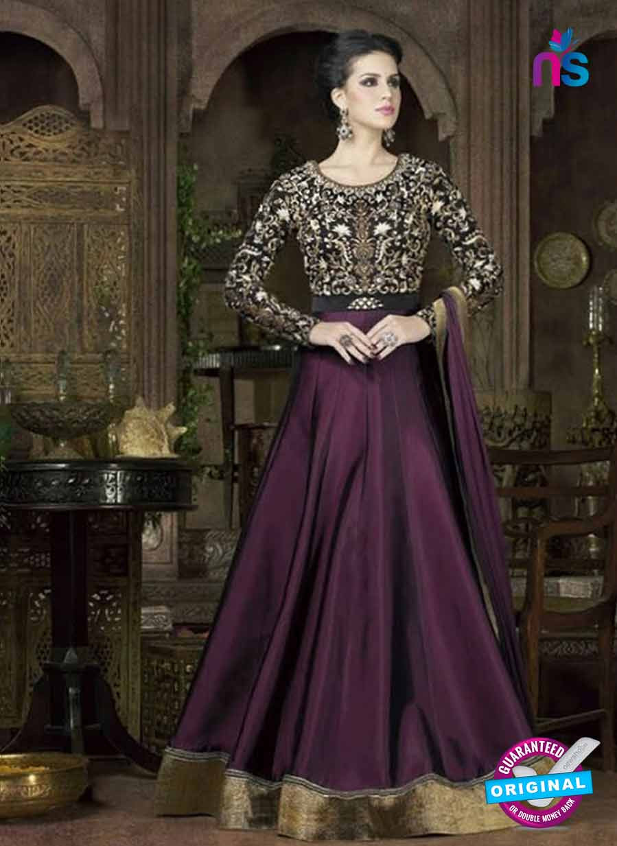 Buy Swagat 4802 B Purple Tafetta Silk Anarkali Suit Online