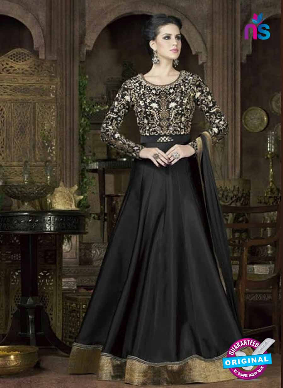 Buy Swagat 4802 D Black Tafetta Silk Anarkali Suit Online