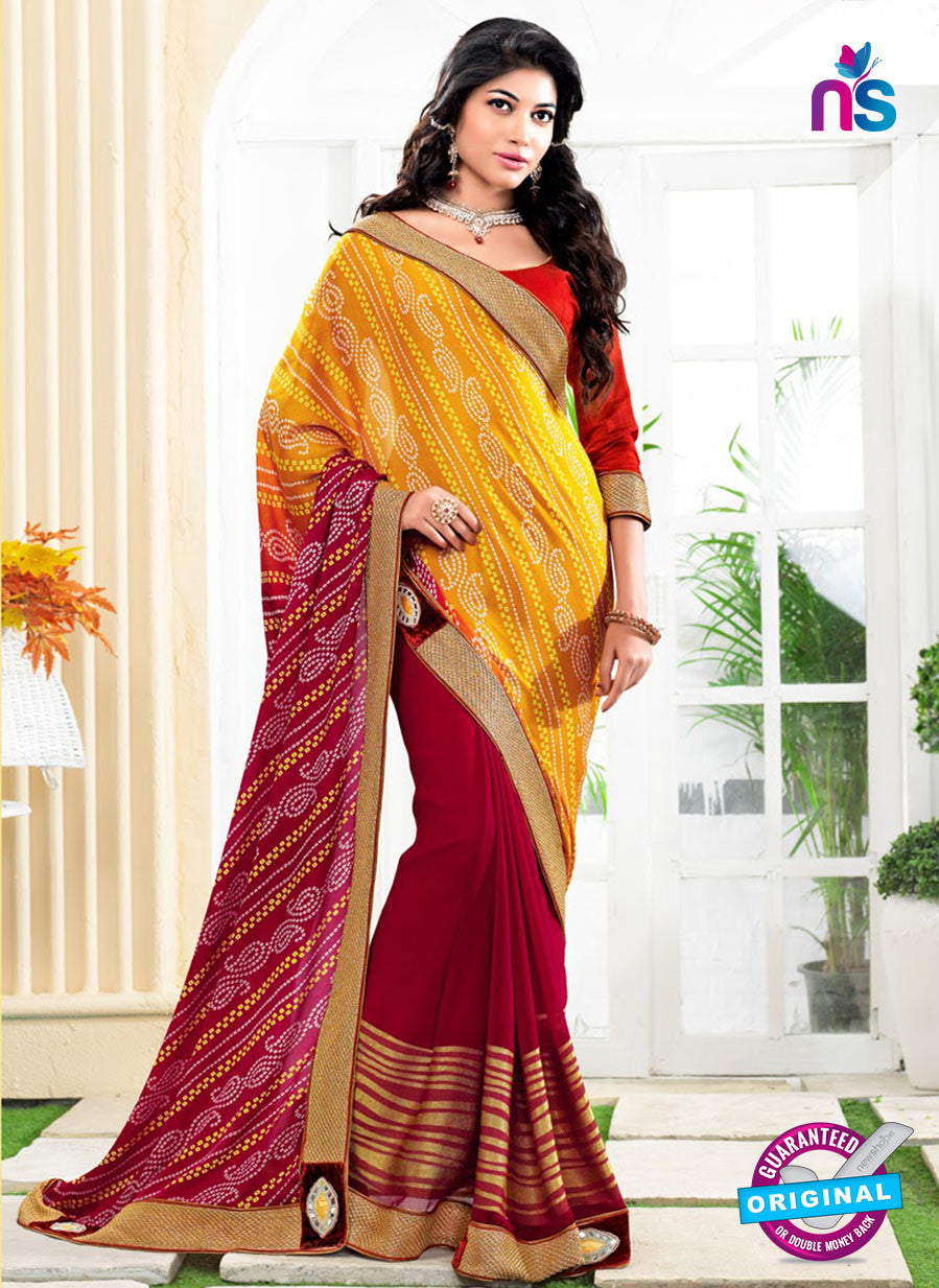 NS10175 Yellow and Maroon Wedding Wear Pure Jaypuri Bandhani Saree