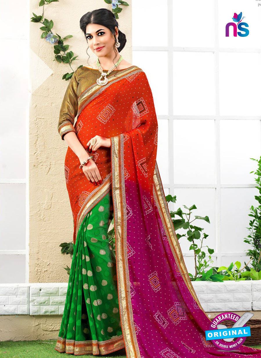 NS10176 Orange and Green Wedding Wear Pure Jaypuri Bandhani Saree