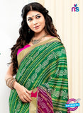 NS10177 Green and Multicolor Wedding Wear Pure Jaypuri Bandhani Saree