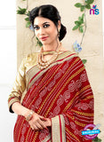 NS10178 Maroon and Yellow Wedding Wear Pure Jaypuri Bandhani Saree