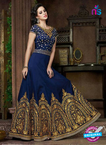 AZ 1010 Blue and Golden Georgette Designer Gawn