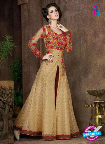 AZ 1011 Beige and Red Net Designer Suit