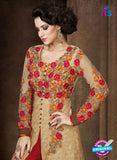 AZ 1011 Beige and Red Net Designer Suit Online