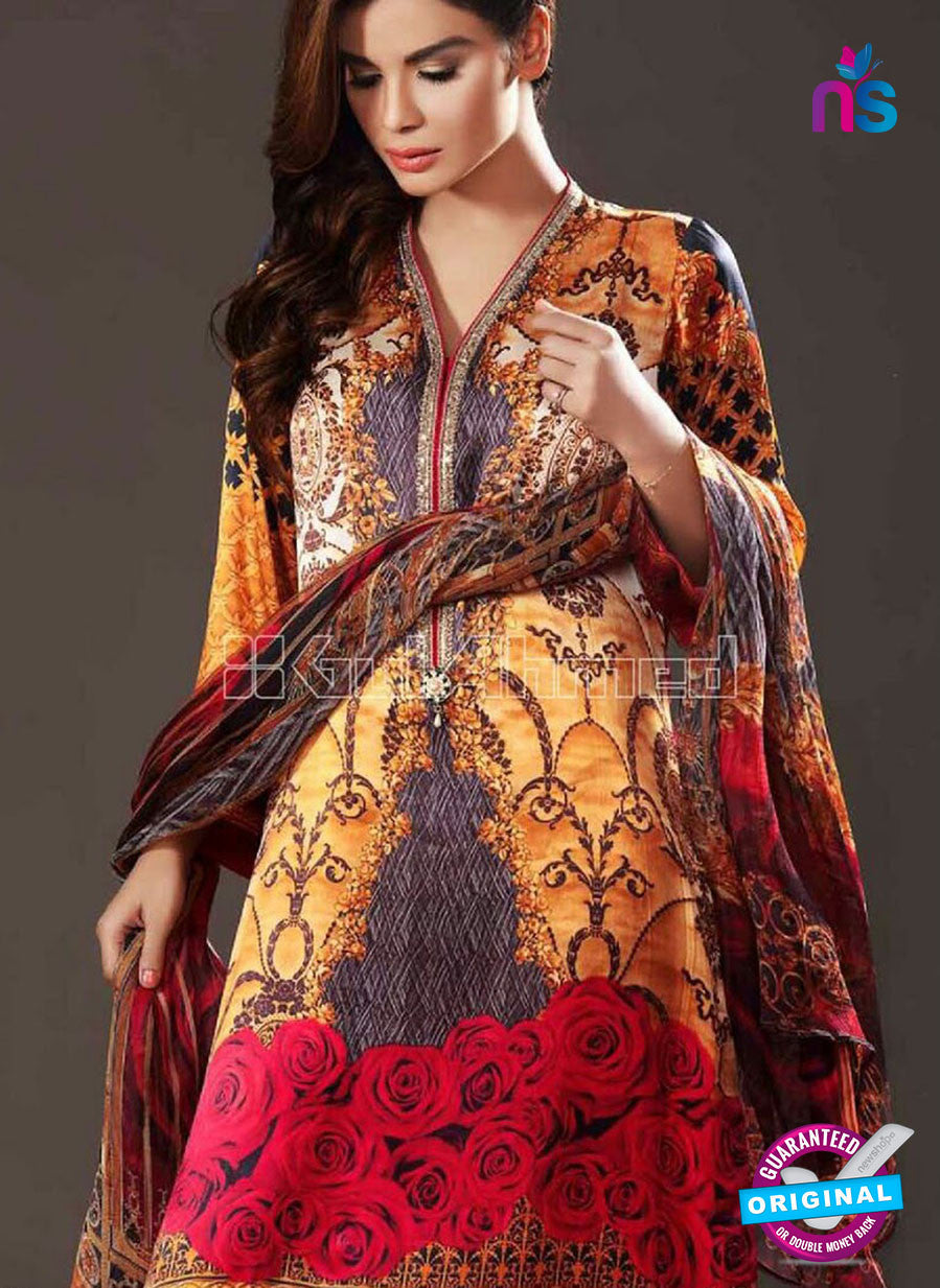 NS10635 Multicolor and Yellow Party Wear Printed Satin Pakistani Suit