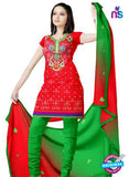NS12283 Red and Parrot Green Jacquard Dress Material