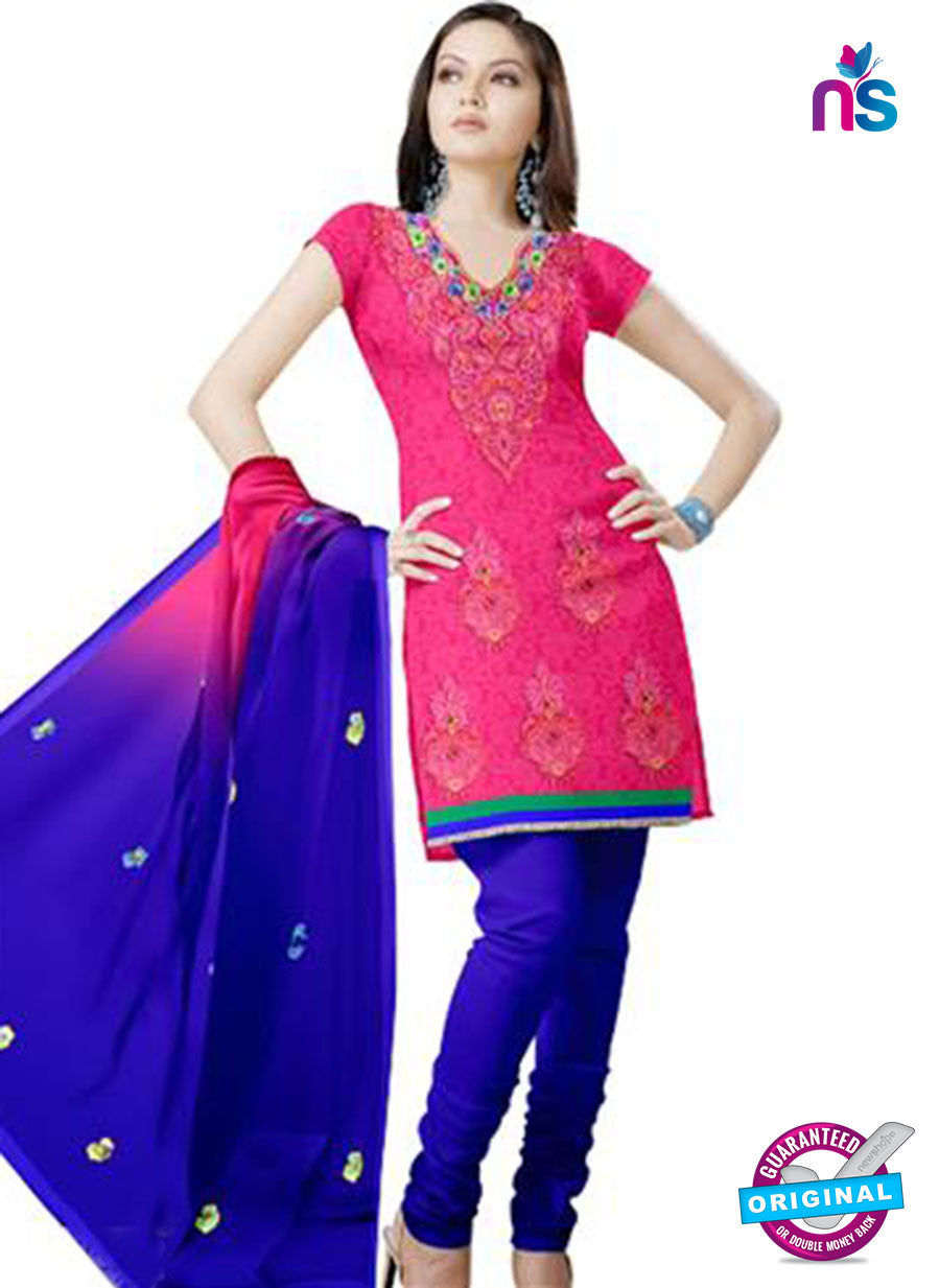 NS12240 Magenta and Blue Georgette Jacquard Dress Material