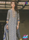 NS 12368 Blue and Gray Embroidered Printed Lawn Party Wear Suit