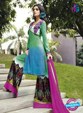 NS 12288 Green and Multicolor Cotton Satin Party Wear Plazzo Suit