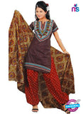 NS12195 Dark Brown and Red Salwar Suit