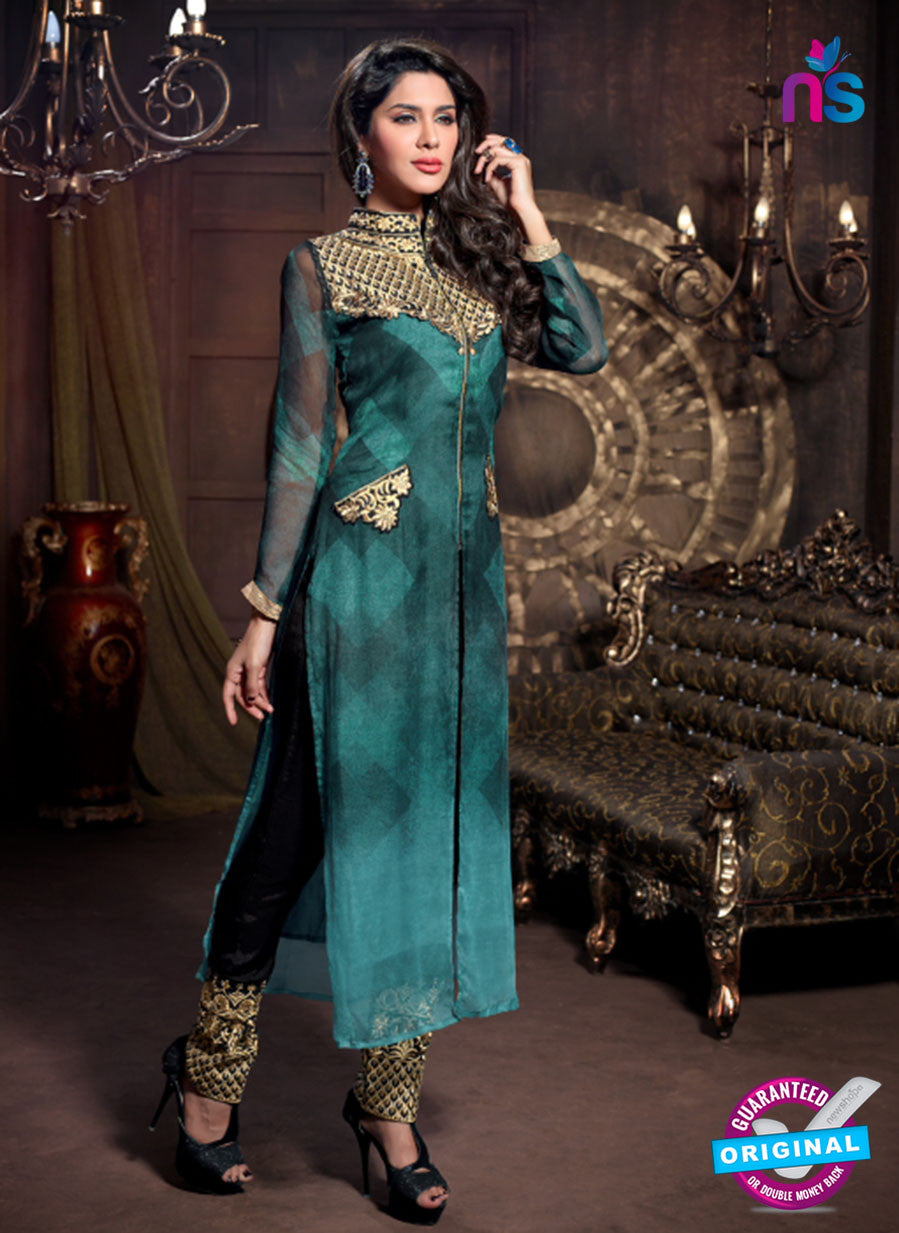 NS12243 Maskeenji Blue and Black Suit