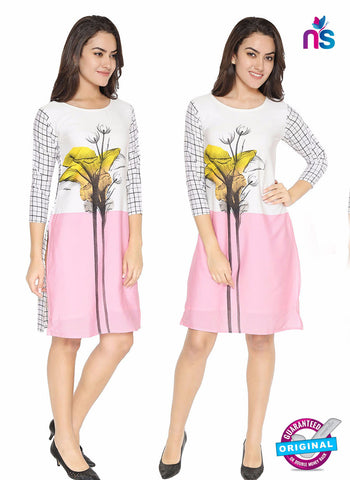 Maya 4 White and Pink Crepe Formal Kurti