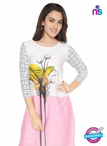 AZ 5186 White and Pink Crepe Formal Kurti