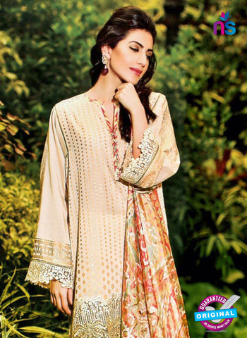 NS10970 Beige Embroidered Lawn Salwar Suit Online