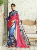 NS11733 NavyBlue and DarkPink Wedding Wear Crape, Georgette, Net Saree