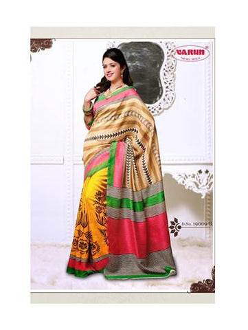 NS11838 B Brown and Yellow Cotton Based Saree