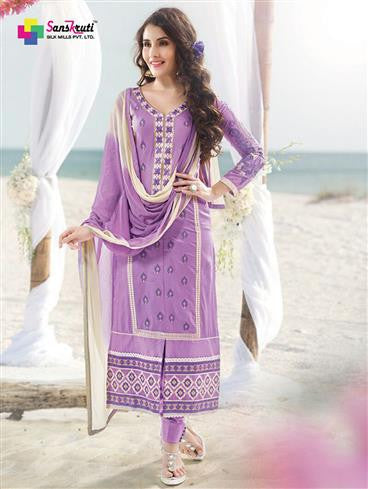 NS11894  Lavender and White Satin Cotton Straight Suit