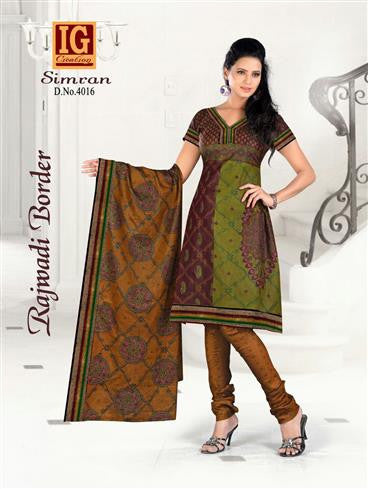 NS11711 Multicolor and ChocolateBrown Printed Popplin Cotton Daily Wear Chudidar Suit