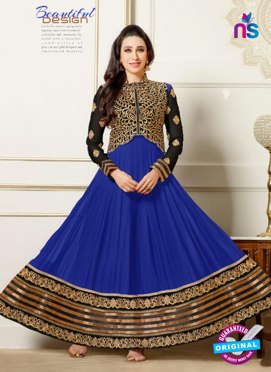 NS11113 Black and Blue Party Wear Georgette Designer Anarkali Suit
