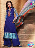 SC 13123 Blue and Multicolor Heavy Embroidered and Cotton Jacquard Pakistani Suit
