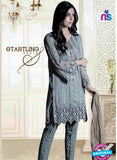 NS10691 Grey Party Wear Faux Georgette Pakistani Style Suit