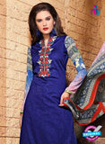SC 13123 Blue and Multicolor Heavy Embroidered and Cotton Jacquard Pakistani Suit Online