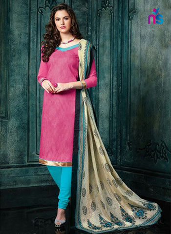 NS11452 BrightPink and SkyBlue Banarasi Jacquard Daily Wear Straight Suit