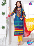 NS11159 Multicolor and Yellow Cotton Straight Suit