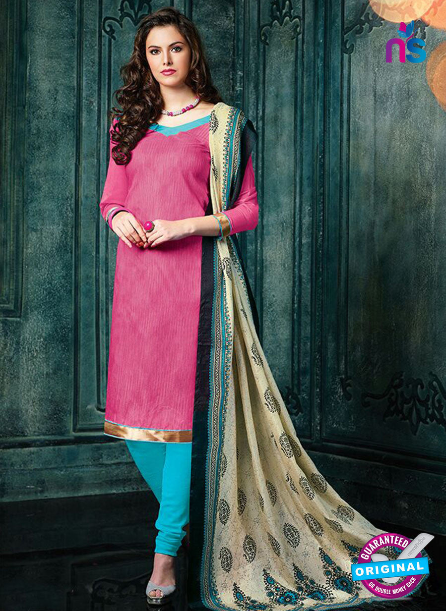 NS 12489 Pink and Blue Banarasi Jacquard Straight Suit
