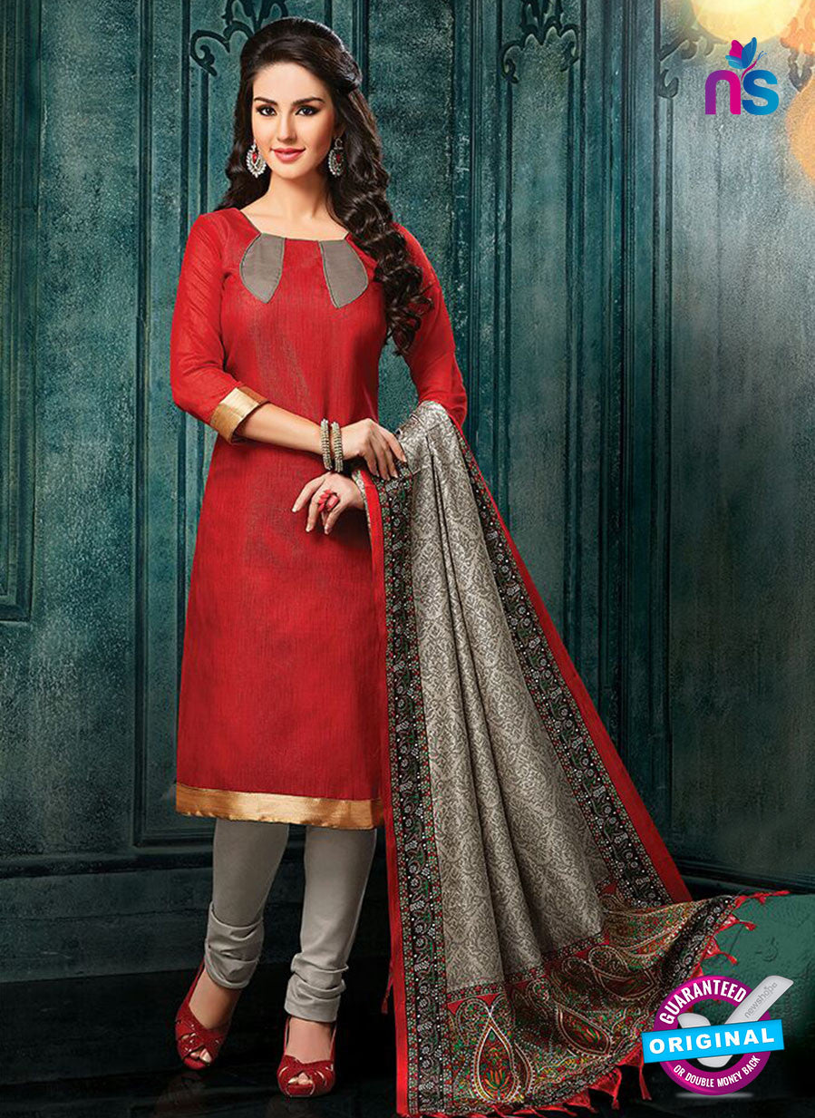 NS 12486 Red and Grey Banarasi Jacquard Straight Suit
